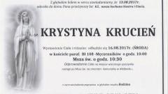 Zmarła Krystyna Krucień. Żyła 61 lat.