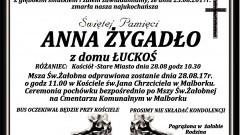 Zmarła Anna Żygadło.