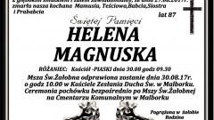 Zmarła Helena Magnuska. Żyła 87 lat.