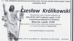 Zmarł Czesław Królikowski. Żył 63 lat.
