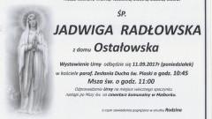 Zmarła Jadwiga Radłowska. Żyła 79 lat.