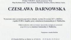 Zmarła Czesława Darnowska. Żyła 70 lat.