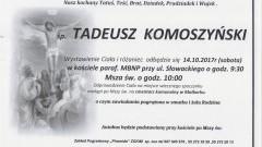 Zmarł Tadeusz Komoszyński. Żył 87 lat.