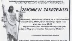Zmarł Zbigniew Zakrzewski. Żył 64 lata.