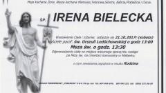 Zmarła Irena Bielecka. Żyła 72 lat.