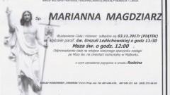Zmarła Marianna Magdziarz. Żyła 85 lat.