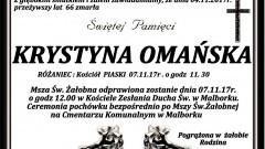 Zmarła Krystyna Omańska. Żyła 66 lat.