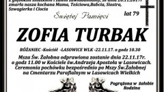 Zmarła Zofia Turbak. Żyła 79 lat