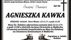 Zmarła Agnieszka Kawka. Żyła 46 lat.