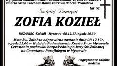 Zmarła Zofia Kozieł. Żyła 91 lat.