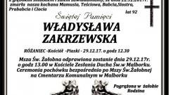 Zmarła Władysława Zakrzewska. Żyła 92 lat.