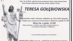 Zmarła Teresa Gołębiowska. Żyła 74 lat
