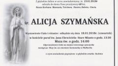 Zmarła Alicja Szymańska. Żyła 68 lat.