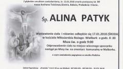 Zmarła Alina Patyk. Żyła 84 lata.
