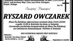 Zmarł Ryszard Owczarek. Żył 70 lat.
