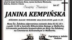 Zmarła Janina Kempińska. Żyła 67 lat.