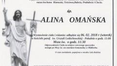 Zmarła Alina Omańska. Żyła 84 lata.
