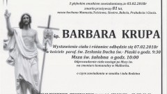 Zmarła Barbara Krupa. Żyła 81 lat.