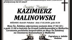 Zmarł Kazimierz Malinowski. Żył 65 lat.