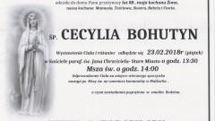 Zmarła Cecylia Bohutyn. Żyła 88 lat.