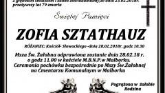 Zmarła Zofia Sztathauz. Żyła 79 lat