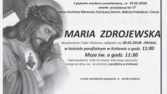 Zmarła Maria Zdrojewska. Żyła 77 lat.