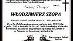 Zmarł Włodzimierz Szopa. Żył 65 lat.