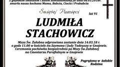 Zmarła Ludmiła Stachowicz. Żyła 91 lat.