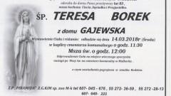 Zmarła Teresa Borek. Żyła 83 lata.