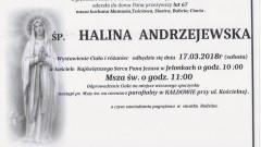 Zmarła Halina Andrzejewska. Żyła 67 lat.