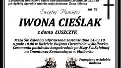 Zmarła Iwona Cieślak. Żyła 52 lata.