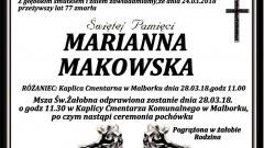 Zmarła Marianna Makowska.Żyła 77 lat.