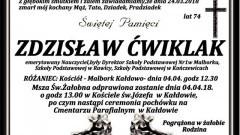 Zmarł Zdzisław Ćwiklak. Żył 74 lata.
