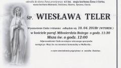 Zmarła Wiesława Teler. Żyła 61 lat