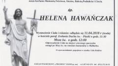Zmarła Helena Hawańczak. Żyła 78 lat.