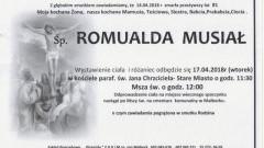 Zmarła Romualda Musiał. Żyła 81 lat