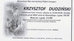 Zmarł Krzysztof Dudziński. Żył 62 lata.