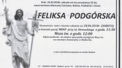 Zmarła Feliksa Podgórska. Żyła 92 lata.