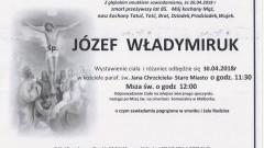 Zmarł Józef Władymiruk. Żył 85.