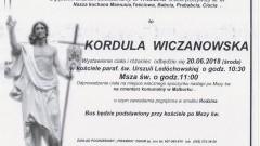 Zmarła Kordula Wiczanowska. Żyła 87 lat.