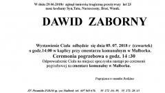 Zmarł Dawid Zaborny. Żył 23 lata.