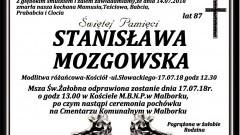 Zmarła Stanisława Mozgowska. Żyła 87 lat.