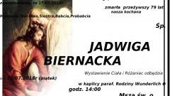 Zmarła Jadwiga Biernacka. Żyła 79 lat.