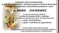 Zmarła Maria Statkiewicz. Żyła 86 lat.
