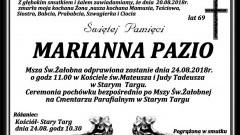 Zmarła Marianna Pazio. Żyła 69 lat.