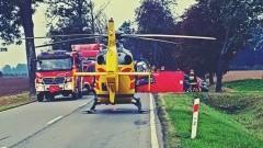 Zderzenie Peaugota z Audi w Kraszewie. Na miejsce wypadku przyleciał śmigłowiec LPR.