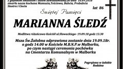Zmarła Marianna Śledź. Żyła 86 lat.