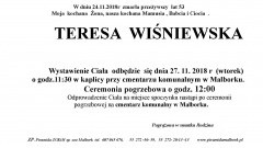 Zmarła Teresa Wiśniewska. Żyła 53 lata.