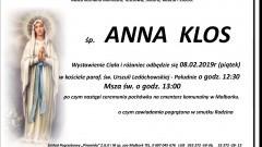Zmarła Anna Klos. Żyła 72 lata.