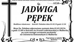 Zmarła Jadwiga Pępek. Żyła 60 lat.